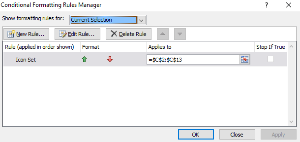 conditional formatting manage rules completed