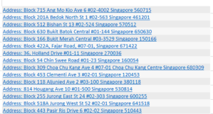 extract postal codes from these addresses