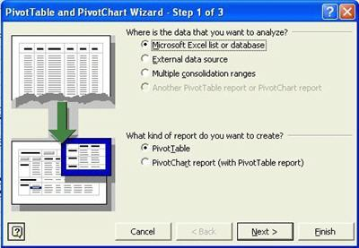 pivot table wizard step 1