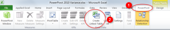 Create PowerPivot with Tables