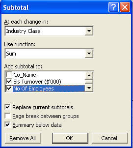 The subtotal function dialog box